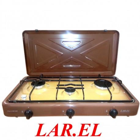 FORNELLO LAREL A GAS MARRONE - DA CAMPEGGIO - 3 FUOCHI  - BRUCIATORI INCASSO