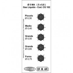 UG04.5MB UGELLI 4,5 GPL kit per Fornelli WO404 HG02