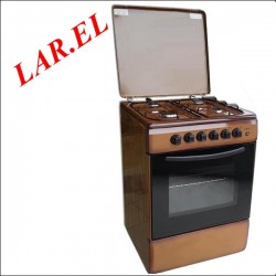 CUCINA LAREL 60X60 - 4 F - MARRONE - FORNO A GAS + GRILL - ACC. ELETTR.